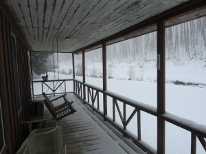 Front Porch and creek looking up the Holler...