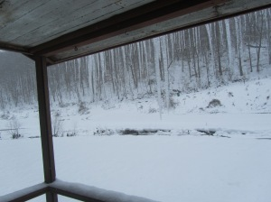 Creek and icicles on the Front Porch